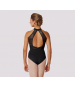 Open Back Halter Leotard (Black)